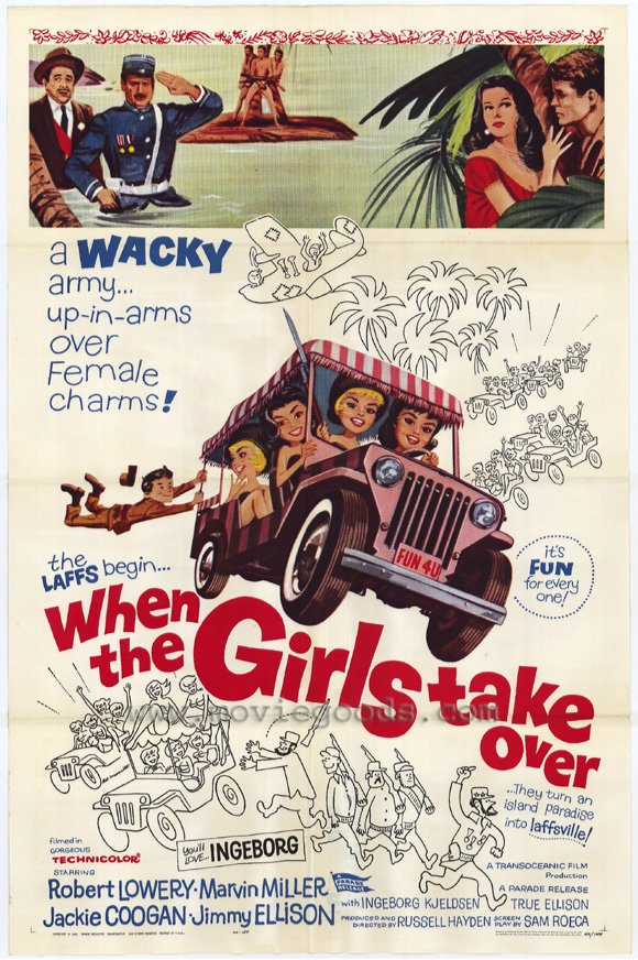 "First B-movie comedy to riff on Castro, only one to make it a comedy. If by ""Girls Take Over"" you mean girls are present a party for some soldier dudes in last 15 minutes of the film, then this is aptly named."