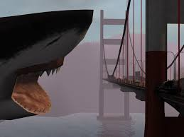 A highly-realistic depiction of the Mega-Shark-pocalypse.
